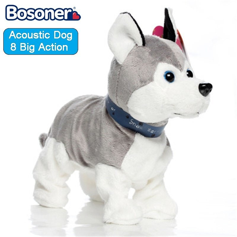 Fashion Sound Control Electronic Interactive Dogs Toy Robot Puppy Pets Bark Stand Walk 8 Movements Plush Toys For Kids Gifts