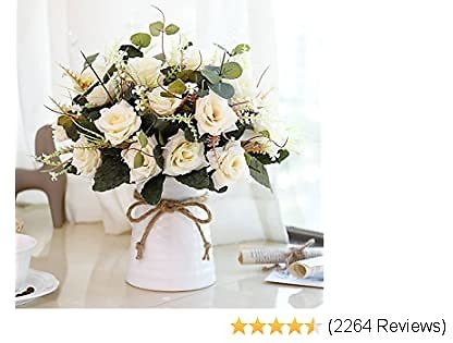 YILIYAJIA Artificial Flowers in Vase Silk Rose Flower Arrangements Fake Faux Flowers Bouquets with Ceramics Vase Table Centerpieces for Dinning Roon Table Kitchen Decoration (Champagne)