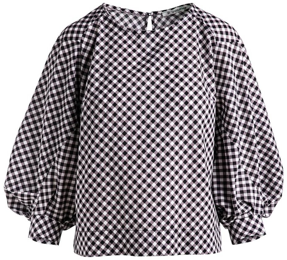 Black & White Check Top With Bishop Sleeves Conquista