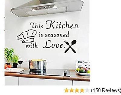 YttBuy Kitchen Wall Decals Kitchen Wall Stickers This Kitchen Is Seasoned with Love Wall Decal for Kitchen Kitchen Decals for Wall (16