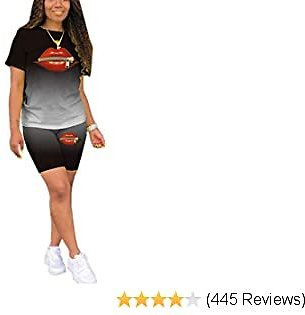 Short Sets 2 Piece Outfits for Women Plus Size Summer Casual Sexy Print Short Sleeve T Shirts Pants