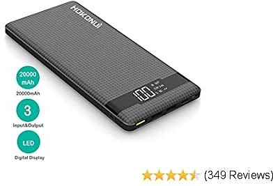 Portable Charger Power Bank, Hokonui 20000mAh External Battery Packs Quick Charge 3.0 with 3 Inputs