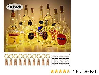 MUMUXI 10 Pack 20 LED Wine Bottle Lights with Cork, 3.3ft Silver Wire Cork Lights Battery Operated Fairy Mini String Lights For Liquor Bottles Crafts Party Wedding Halloween Christmas Decor,Warm White