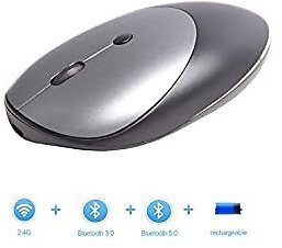 Bluetooth 2.4G Mouse with Rechargeable,Geyes 3 Modes Wireless Bluetooth Mouse Compatible with IPhone,iPad, MAC OS,Windows, Android Devices (Black)