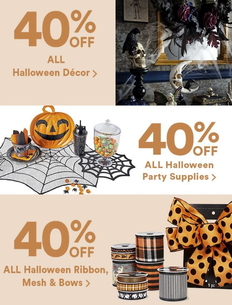 40% Off All Michaels Halloween Decor, Party Supplies, and Ribbon