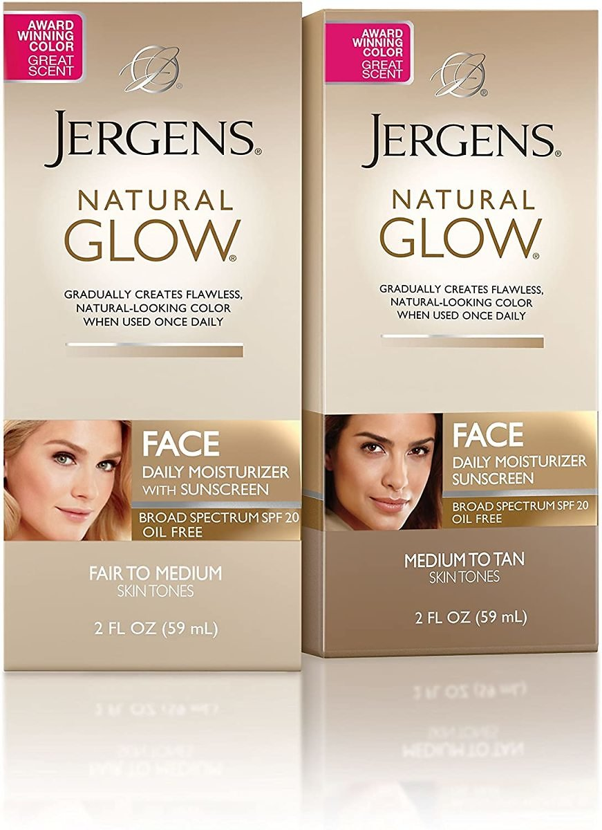 Jergens Natural Glow Oil-free SPF 20 Face Moisturizer, Self Tanner, Fair to Medium Skin Tone Sunless Tanning, 2 Ounce Daily Facial Sunscreen, Featuring Broad Spectrum Protection Across UVA and UVB