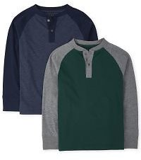 Boys Long Raglan Sleeve Henley Top 2-Pack