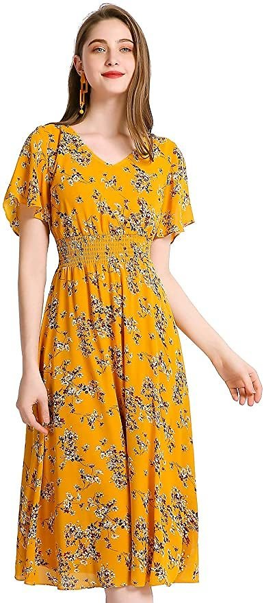 Save 20% On Gardenwed Floral Chiffon Dresses for Women Flowy Homecoming Cocktail Dress