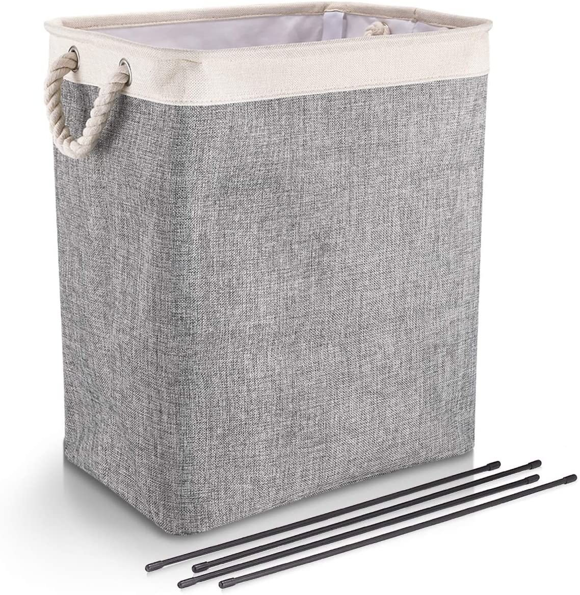 DYD Laundry Baskets with Handles Collapsible Linen Hampers for Bedroom Storage Built-in Lining with Detachable Brackets Well-Holding Foldable Laundry Hamper for Toys Clothing Organization
