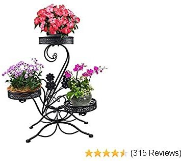 AISHN 3-Tiered Scroll Classic Plant Stand Decorative Metal Garden Patio Standing Plant Flower Pot Rack Display Shelf Holds 3-Flower Pot with Modern