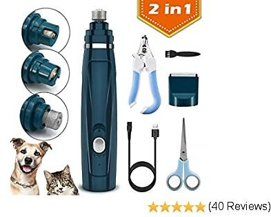 Fvntuey Pet Nail Grinder and Hair Clippers 2 In1,Rechargeable Dog Nail Grinder for Large and Small Dogs, 2-Speed Noiseless and Cordless Dog Nail Trimmer for Dogs, Cats, and Other Pets
