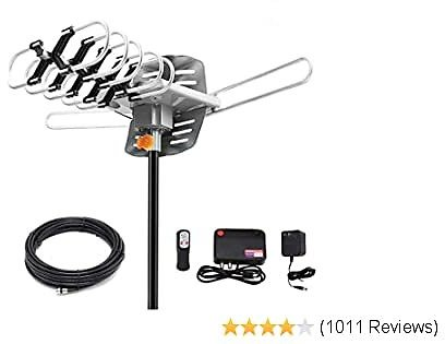 HDTV Digital Antenna -150 Miles Range w/ 360 Degree Rotation Wireless Remote - UHF/VHF/1080p/ 4K Ready(Without Pole). Upgraded 2020 Version