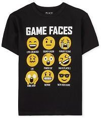 Boys Short Sleeve 'Game Faces' Emoji Graphic Tee