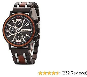 BOBO BIRD S18-1 Mens Wood Watch Stylish Wooden Stainless Steel Combined Chronograph with Luminous Pointers Fashion Timepiece for Men