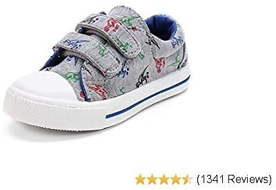 KomForme Toddler Boys & Girls Shoes Kids Canvas Sneakers with Cartoon Dual Hook and Loops
