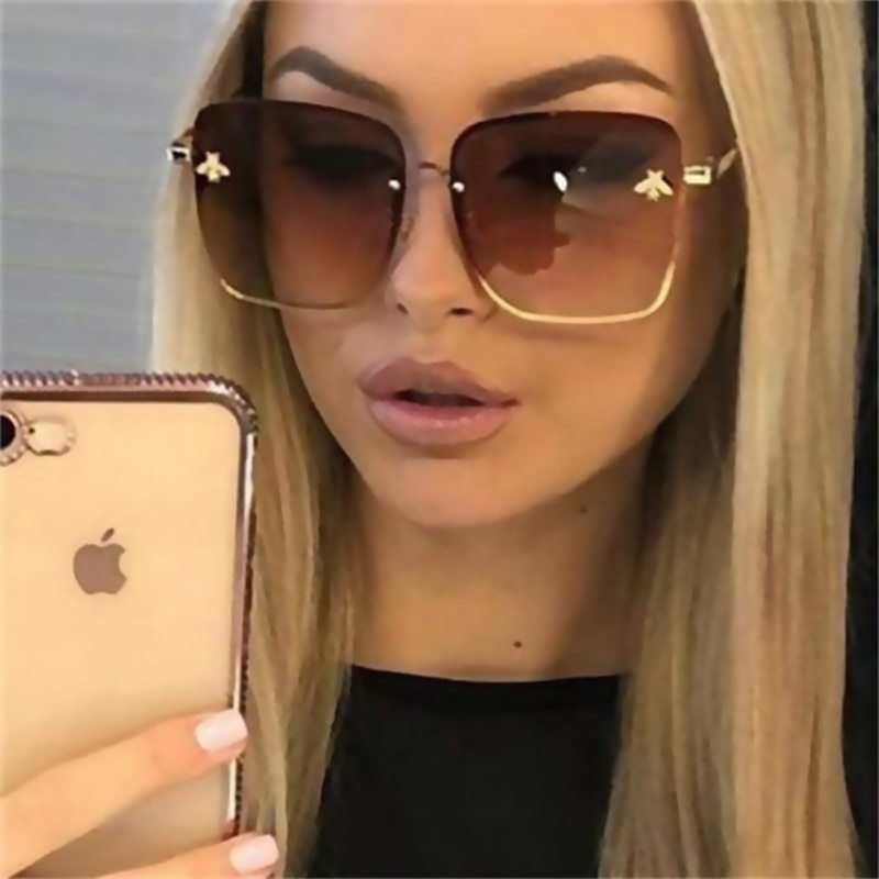 US $3.0 2020 New Fashion Lady Oversize Rimless Square Bee Sunglasses - AliExpress