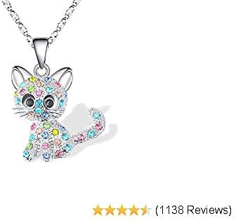 Lanqueen Kitty Cat Pendant Necklace Jewelry for Women Girls Cat Lover Gifts Daughter Loved Necklace 18+2.4 Inch Chain