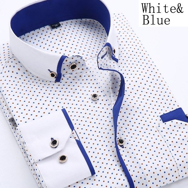 Men Shirts Long Sleeve Male Business Casual Printed Fashion Formal Shirts Size S-4XL