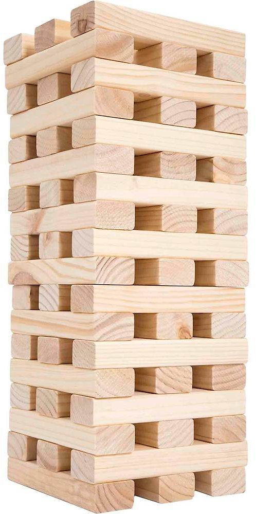 Hey! Play! Nontraditional Giant Wooden Blocks Tower Stacking Game M420009