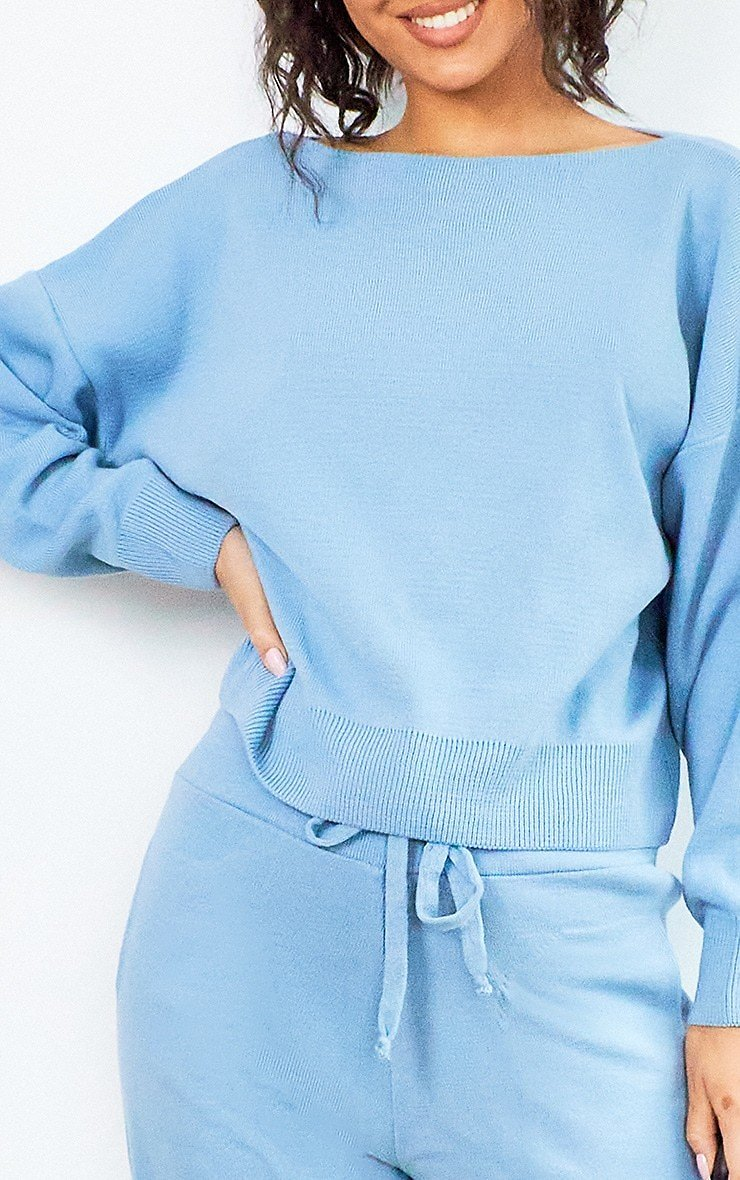 Blue Slash Neck Knitted Set