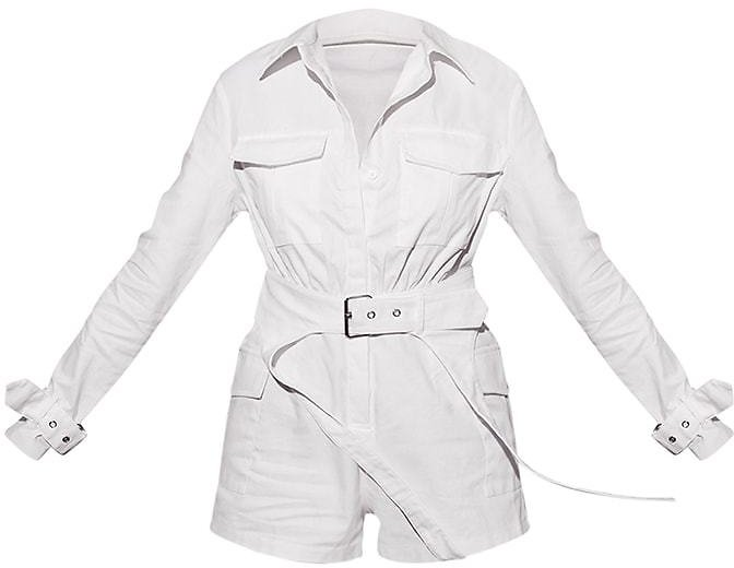 White Cargo Buckle Detail Belted Romper