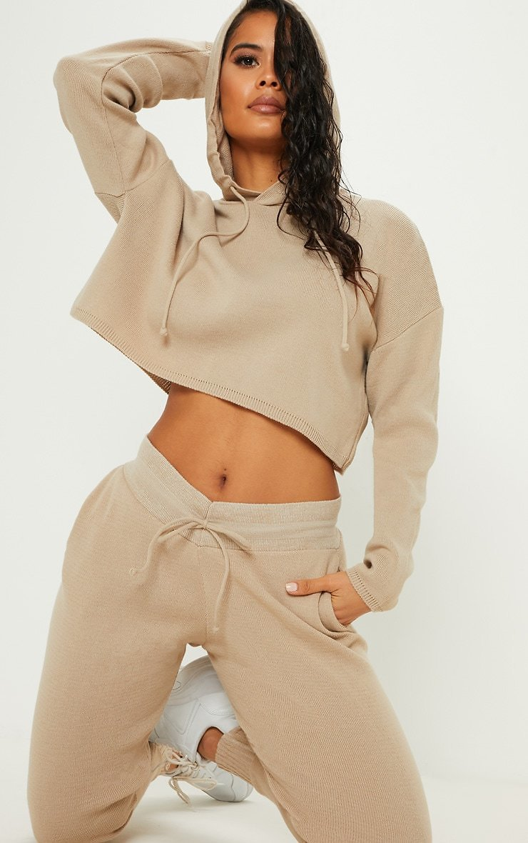 Stone Cropped Hooded Knitted Lounge Set