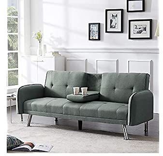 Merax Mini Futon Bed Couch, Modern Sofa Sleeper Design for Living Room or Bedroom, Including Metal Legs and Upholstery Sofabed, 74.8