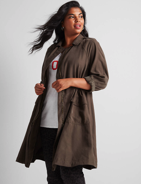 Twill Utility Duster Jacket | Lane Bryant