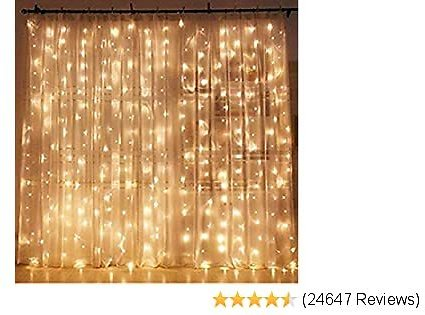 Top Twinkle Star LED Window Curtain String Light Wedding Party Home Garden Bedroom Outdoor Indoor Wall Decorations, Warm White