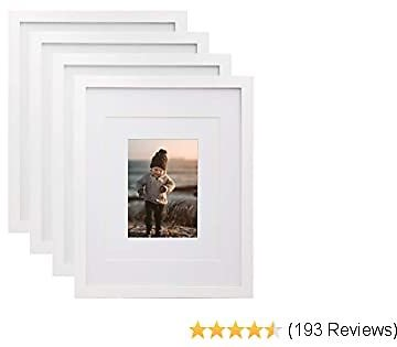 KINLINK 11x14 Picture Frames White, Wood Frames with HD Plexiglass for Pictures 5x7/8x10 with Mat or 11x14 Without Mat, Tabletop and Wall Mounting Display, Set of 4
