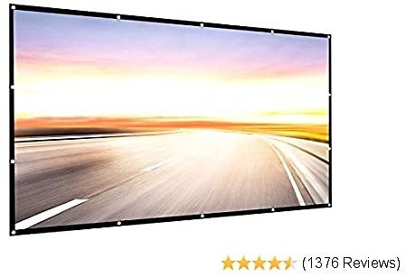 Projector Screen 150 Inch 16:9 HD Foldable Anti-Crease Portable Projection Movies Screen for Home