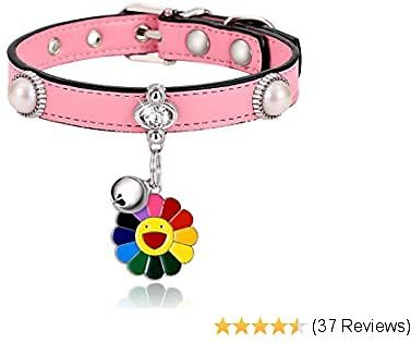Freewindo Cat Collar with Bell and Pendant, Soft PU Leather Adjustable Small Dog Collar for Cats and Puppies