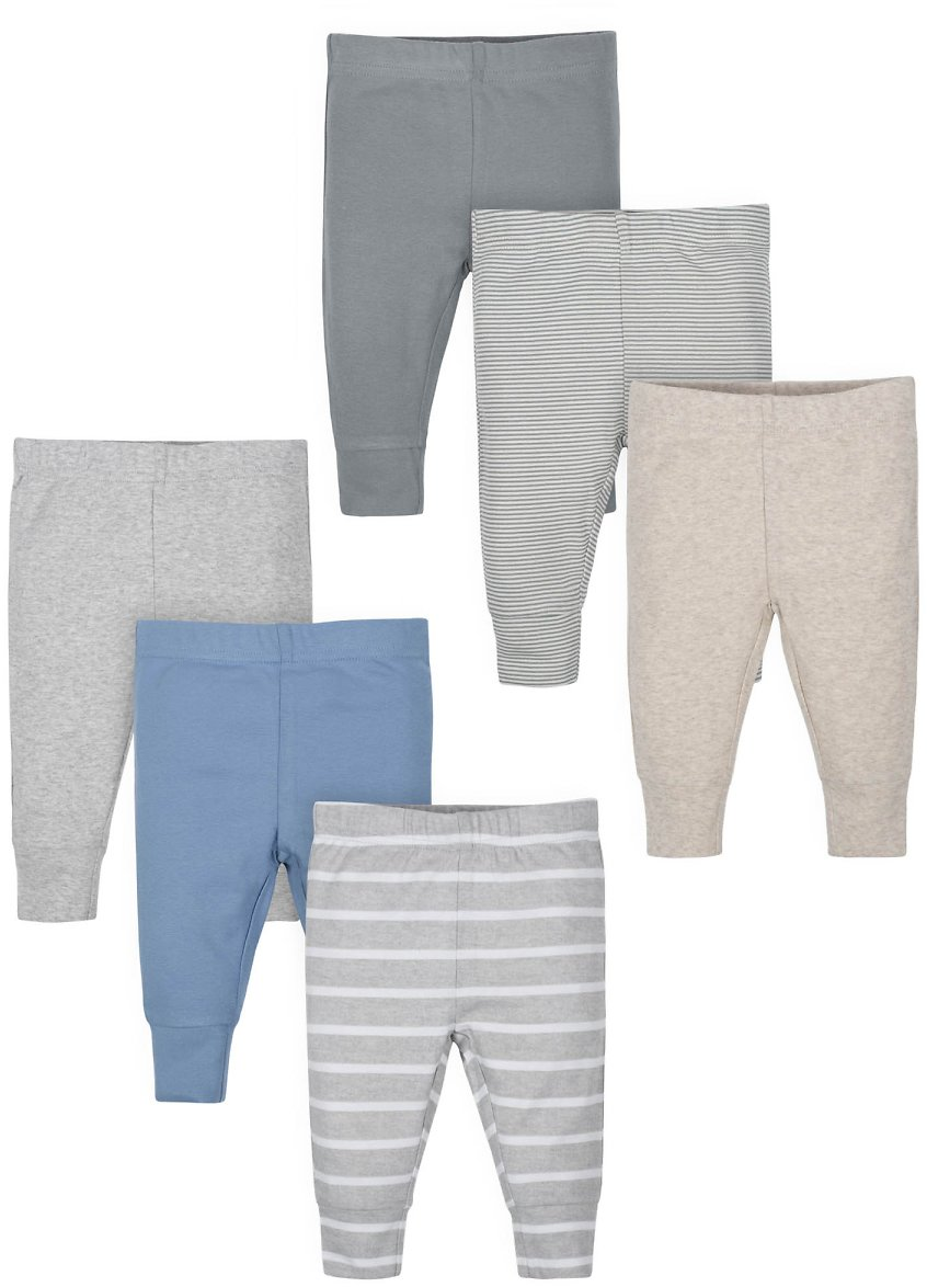 Wonder Nation Baby Boy Active Pants with Cuff, 6-Pack