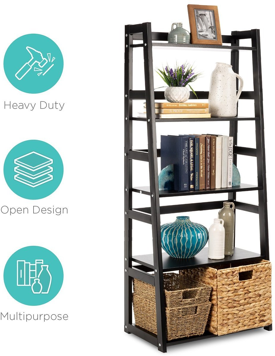 5-Tier Multipurpose Ladder Slant Bookcase Storage Shelf