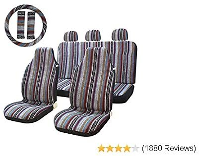 10pc Stripe Multi-Color Seat Cover Baja Saddle Blanket Bucket Seat Cover