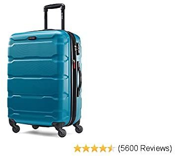 Samsonite Omni PC Hardside Expandable Luggage with Spinner Wheels, Caribbean Blue, Checked-Medium 24-Inch