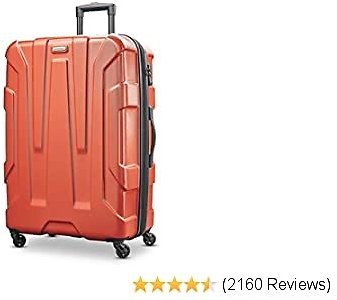 Samsonite Centric Hardside Expandable Luggage with Spinner Wheels, Burnt Orange, Checked-Large 28-Inch