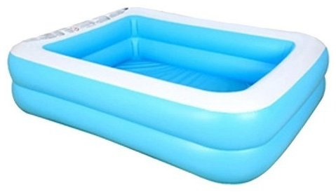Kids Inflatable Swimming Pool Baby Adult Home Paddling Pool Thick Wear-resistant 128*85*45cm/50.39*33.46*17.72 Inch Blue White