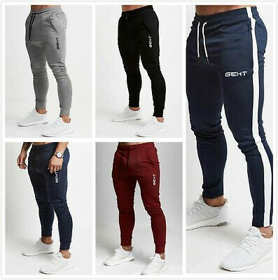 Mens Slim Fit Tracksuit Sport Pants Gym Skinny Joggers Jogging Sweat Trousers