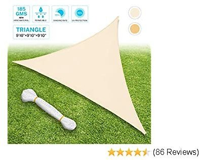 Sunkorto 9'10'' Triangle Sun Sail Shade, UV Block Sun Shade Sail with PE Rope for Outdoor Patio, Backyard, Garden, Beige