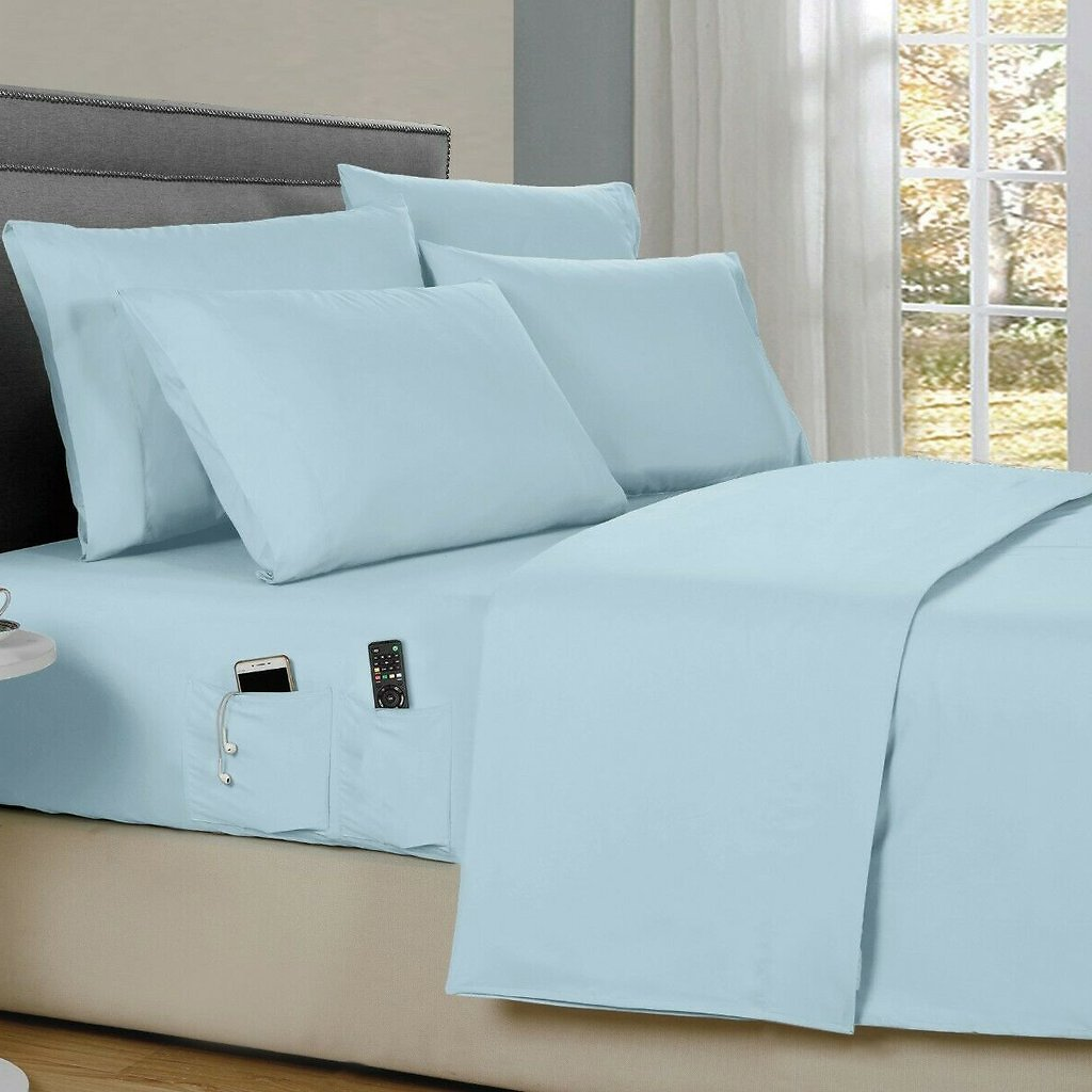 6-Piece: Bamboo Smart Sheet Set With Storage Pocket