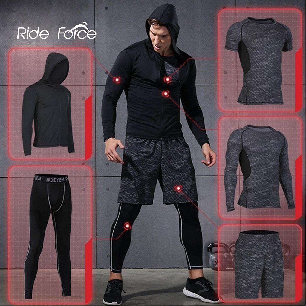 5 Pcs/Set Men's Tracksuit Sports Suit Gym Fitness Compression Clothes Running Jogging Sport Wear Exercise Workout Tights