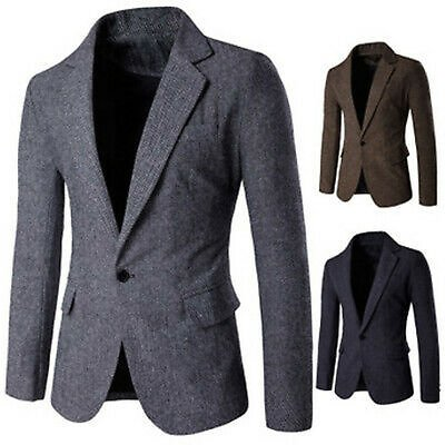 Stylish Men's Casual Slim Fit Formal One Button Suit Blazer Coat Jacket Tops US