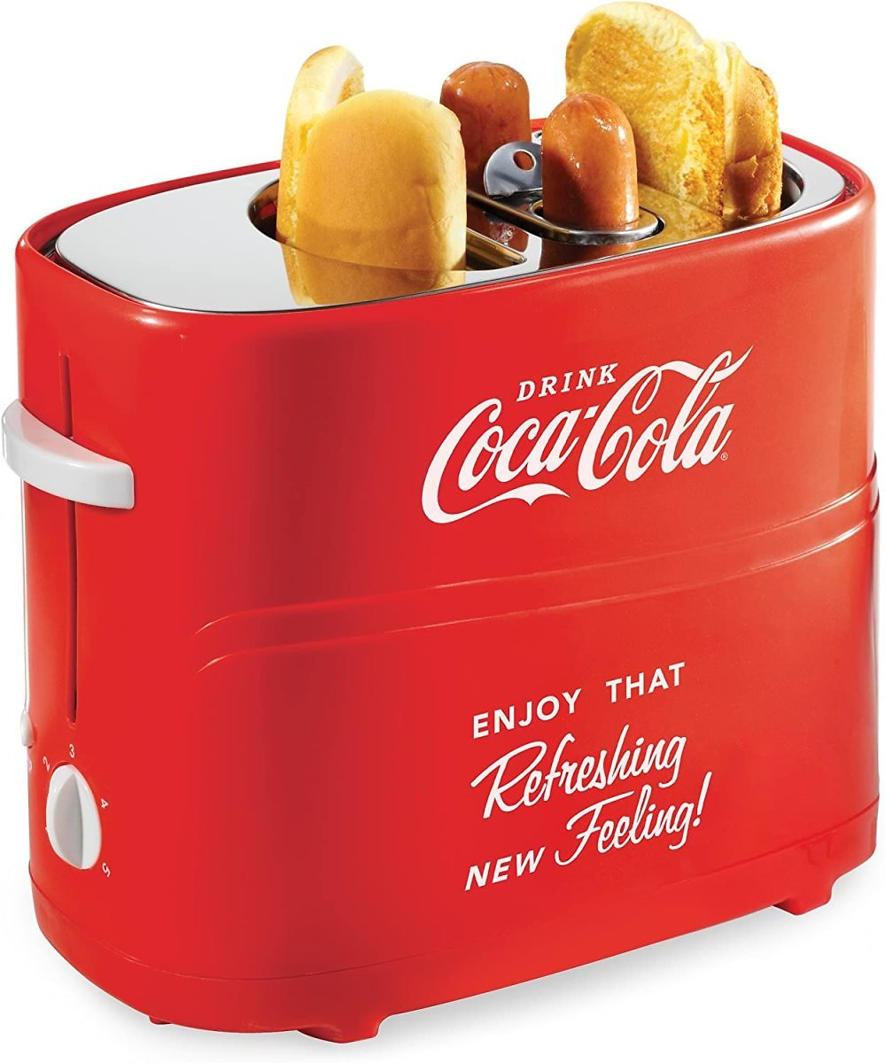 33% Discount - Nostalgia Coca-Cola Pop-Up 2 Hot Dog and Bun Toaster, With Mini Tongs, Works With Chicken, Turkey, Veggie Links,