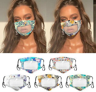 5PCS Cloth Face Mask with Clear Mouth Window for Deaf and Hard of Hearing Person