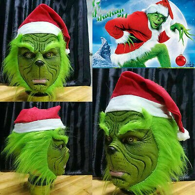 Christmas Funny Halloween Mask With Red Hat Costume Party Latex Full Face Props