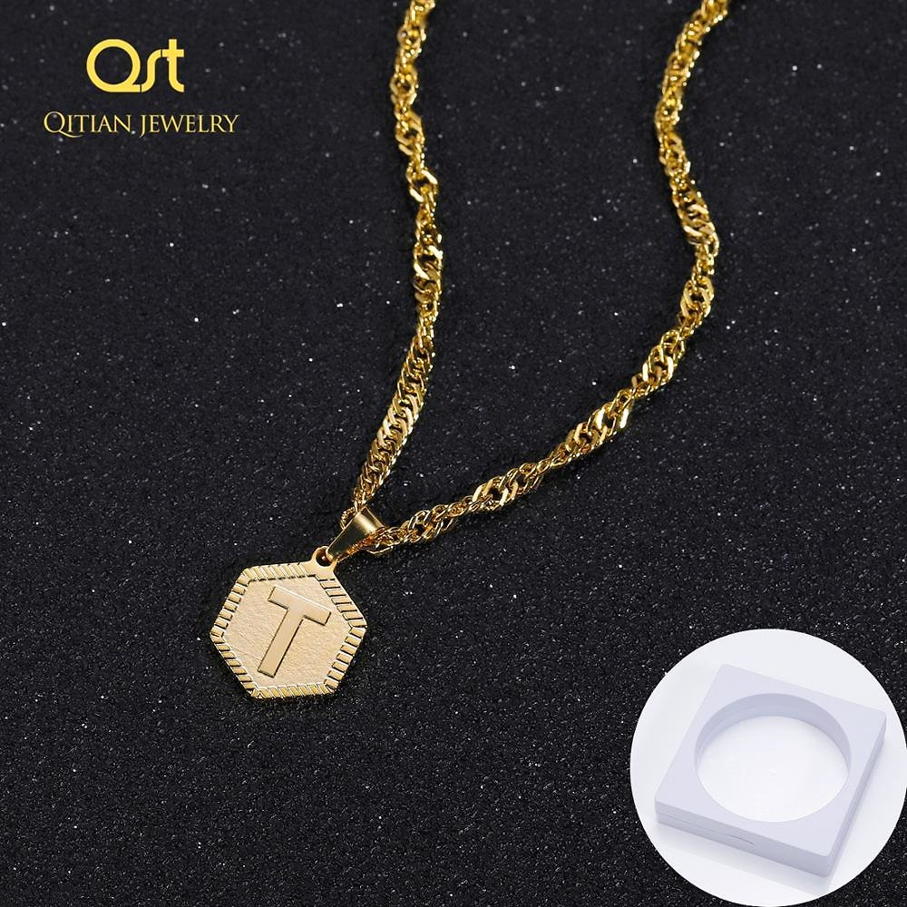 US $7.5 45% OFF Qitian A Z Letters Necklaces Pendant Stainless Steel Jewelry Not Fade for Women Men English Initial Alphabet Chain Jewelry Gift Customized Necklaces  - AliExpress
