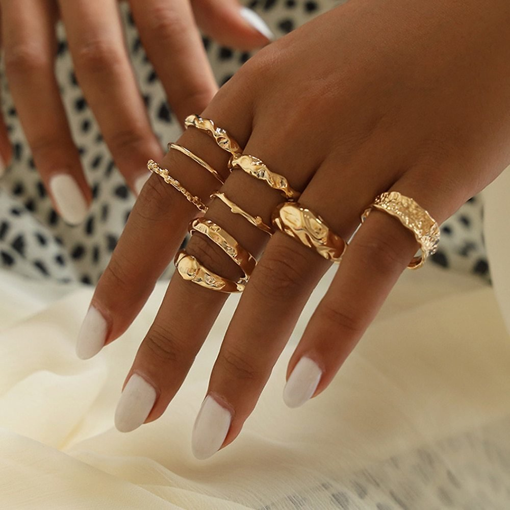US $1.56 37% OFF|9Pcs/Set Bohemia Fashion Joint Ring Simple Geometric Golden Finger Ring Set Women Exquisite Party Jewelry Accessories|Rings| - AliExpress