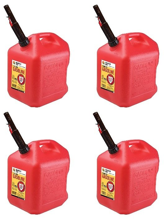 Midwest Can Company 5610 5 Gallon Gas Can Fuel Container Jugs w/ Spout (4 Pack)