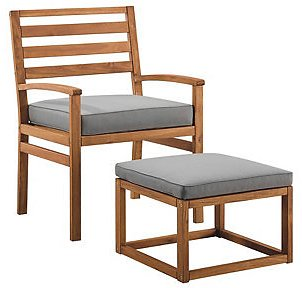 Walker Edison Acacia Wood Outdoor Patio Chair with Pull Out Ottoman & Reviews - Furniture